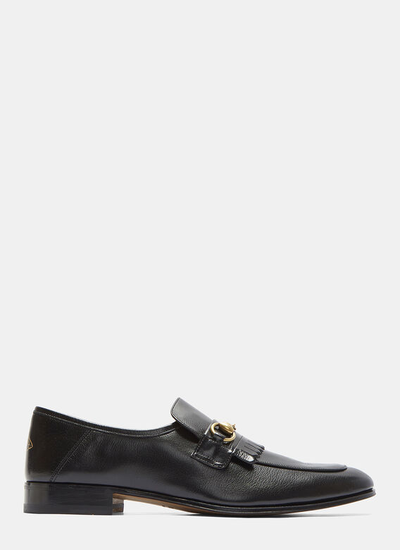 48583394871 Gucci Fringed Horsebit Leather Loafer In Black