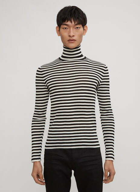 Saint Laurent Striped Roll Neck Jumper