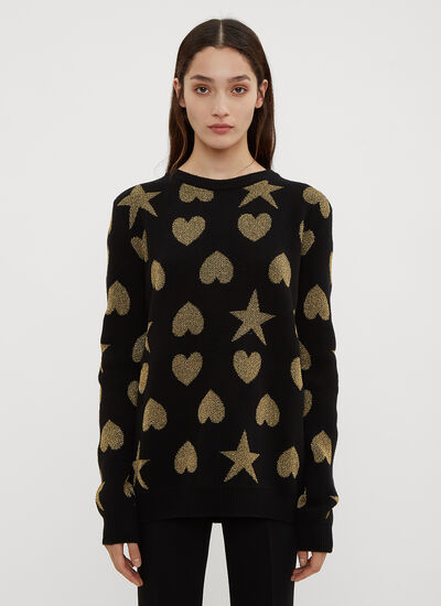 Gucci Hearts and Stars Crew Neck Knit Sweater