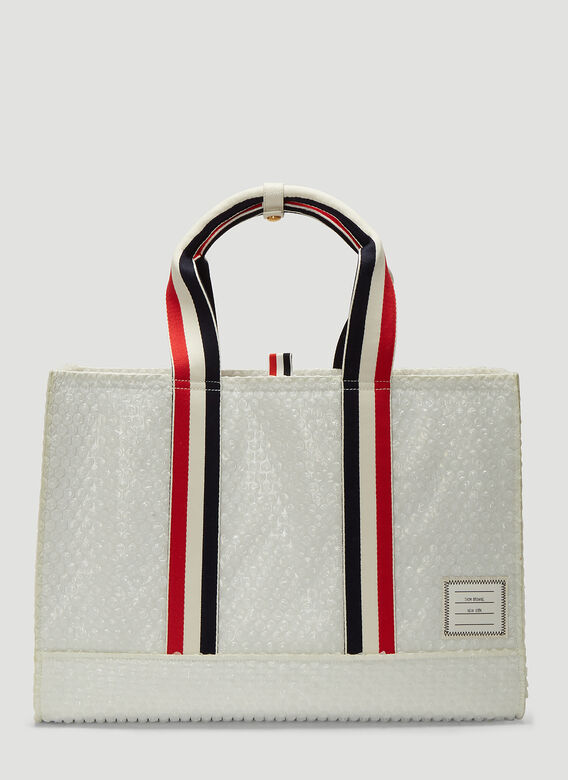 Thom Browne Totes East-West Bubble Wrap Tote Bag in White