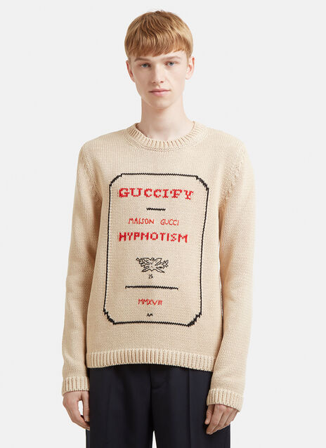 Gucci Guccify Hypnotism Invitation Cotton Knit Sweater