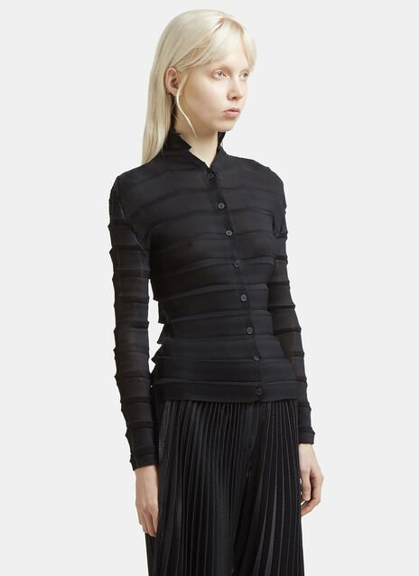 Issey Miyake Crimped Long Sleeved Cardigan