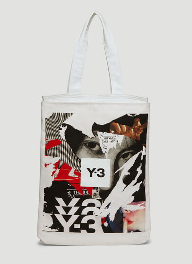Y-3 Graphic Tote Bag in White