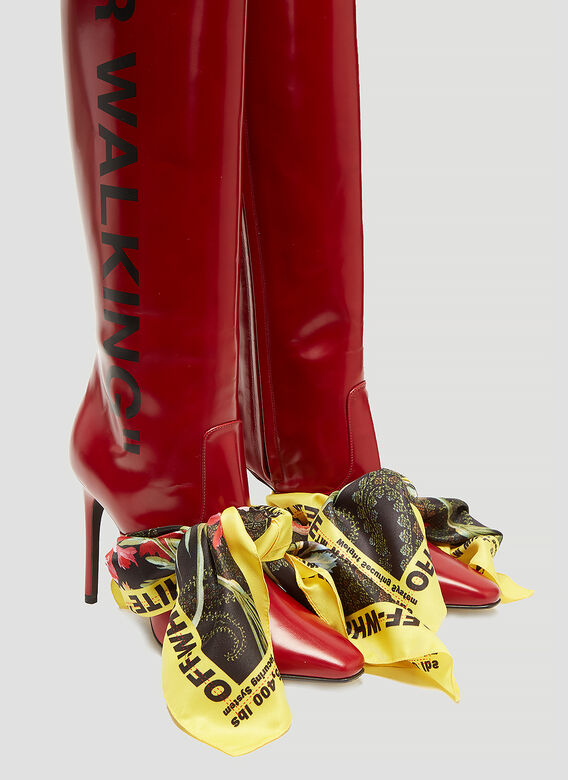 Off-White Thigh High Scarf Boot