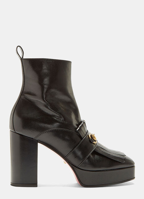 Gucci Fringed Horse Buckle Ankle Boots