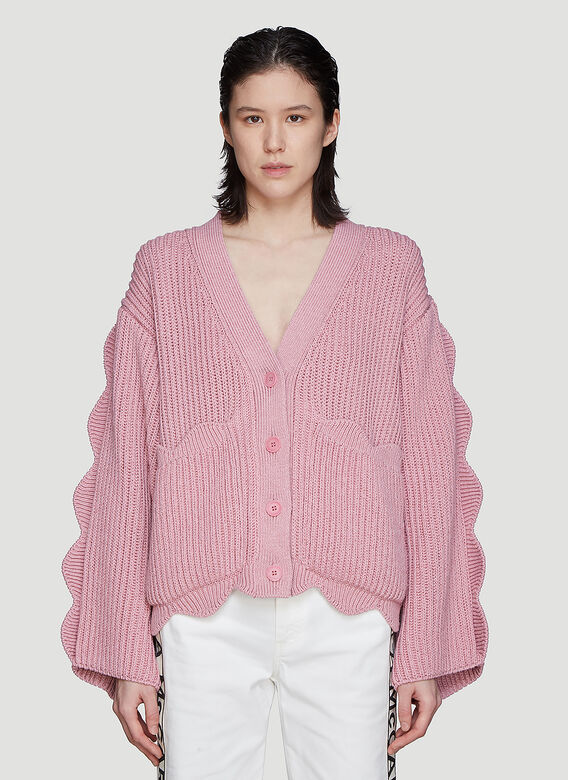 f3b091e51ea9 Stella McCartney. Scalloped Knit Cardigan in Pink