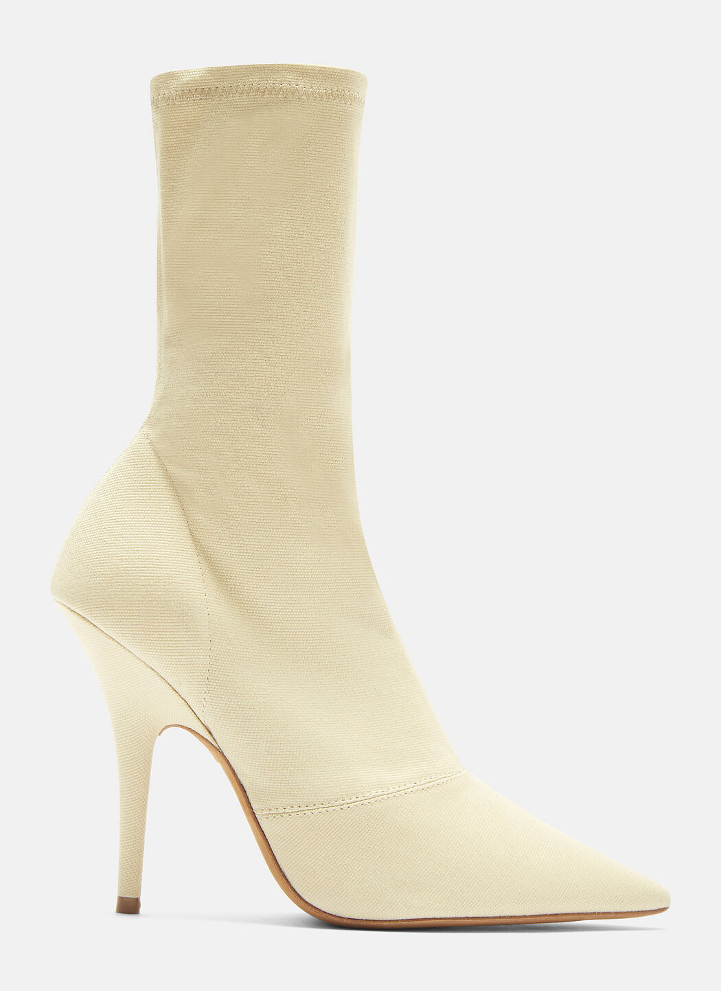 Yeezy Canvas Ankle Boot 110mm Heel in Chalk