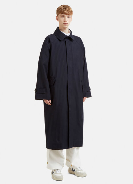 Hed Mayner Pinstripe Trench Coat