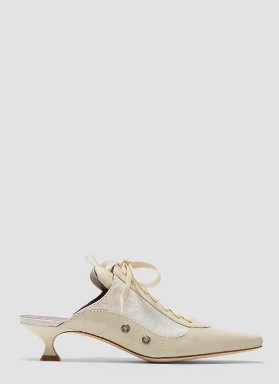 Sies Marjan Alice Calf Canvas Lace-Up Mule