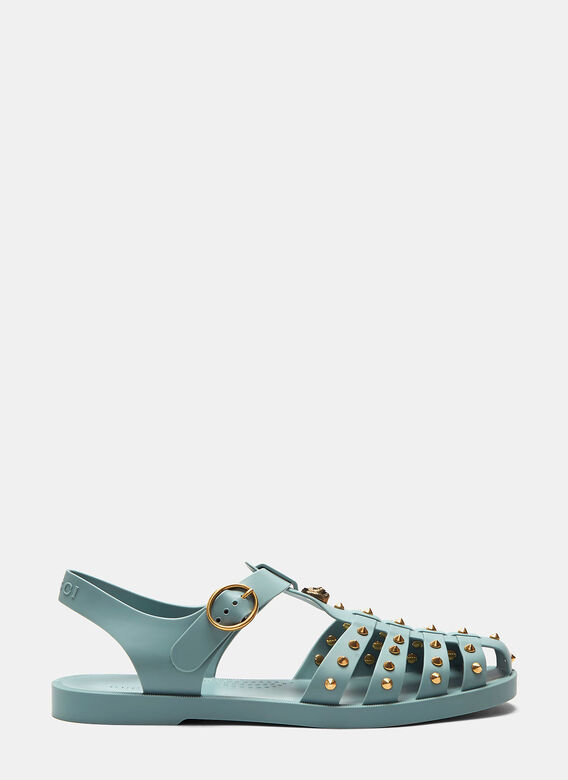 0871368a8 Gucci Tiger Head Studded Rubber Buckle Sandals