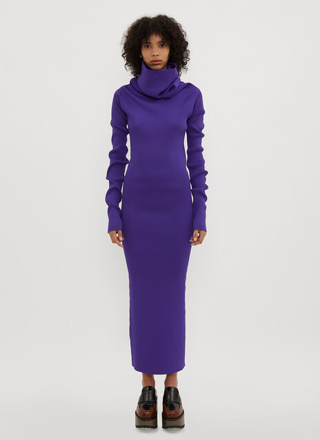 Marni Cowl Neck Ribbed Knit Dress