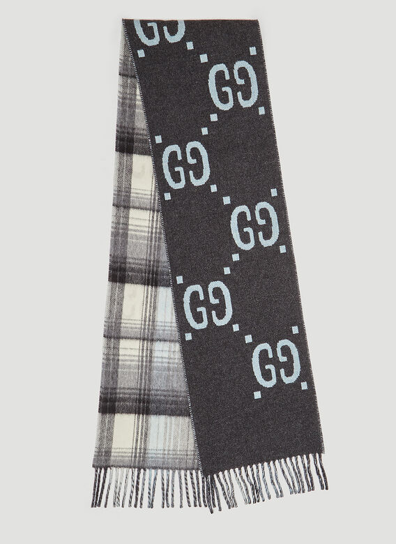 b0829807d Gucci GG Check Wool Scarf in Grey