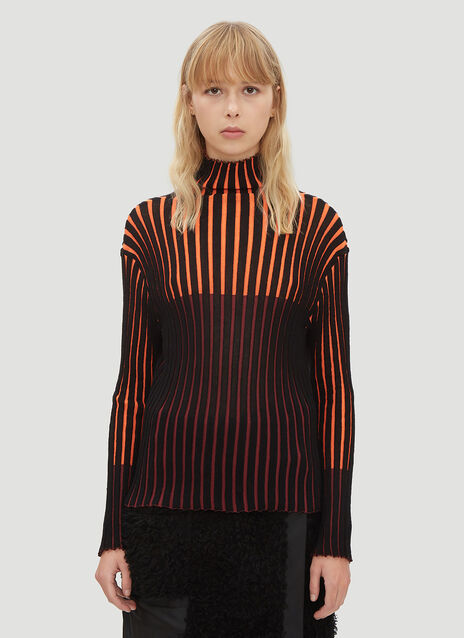 Pleats Please Issey Miyake Chira Chira Ribbed Knit Turtle Neck Top