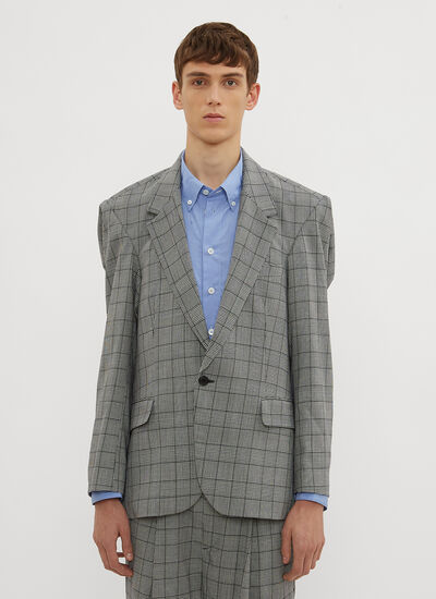 Hed Mayner Bulky Single Breasted Check Print Blazer