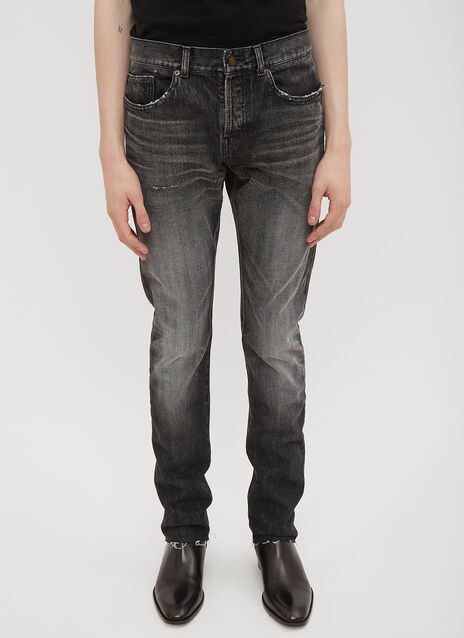 Saint Laurent Raw Cut Black Washed Jeans