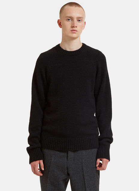 Striped Sleeve Grid Crew Neck Sweater
