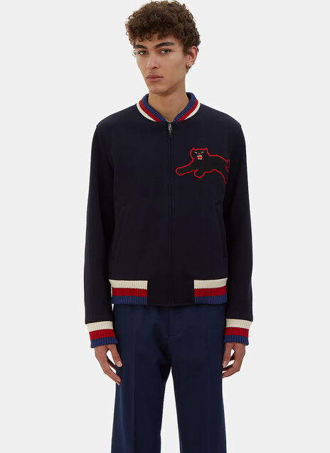 Embroidered Panther Patch Bomber Jacket