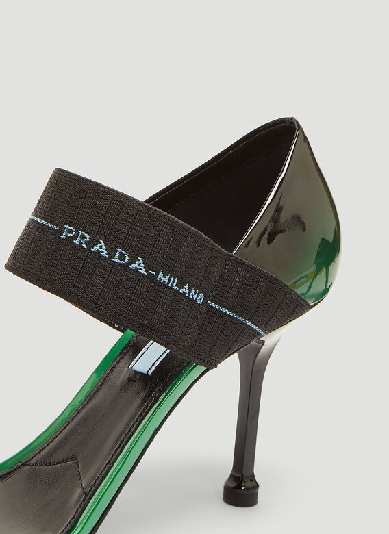 Prada Patent Leather Elasticized Band Sandals