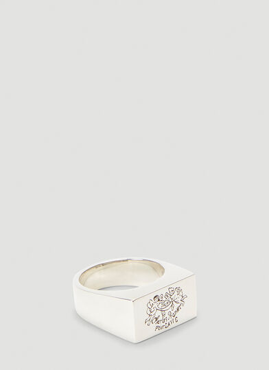 Johnny Hoxton Les Anges Square Ring in Silver