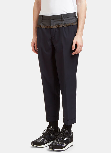 Contrast Waist Embroidered Pants