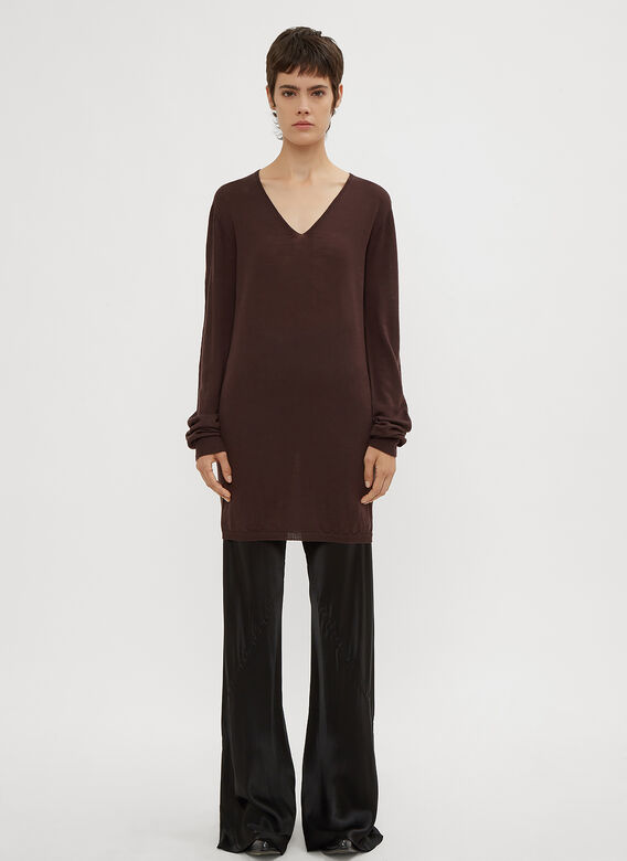 Rick Owens V-Neck Sweater in Brown   LN-CC f0aa88687a