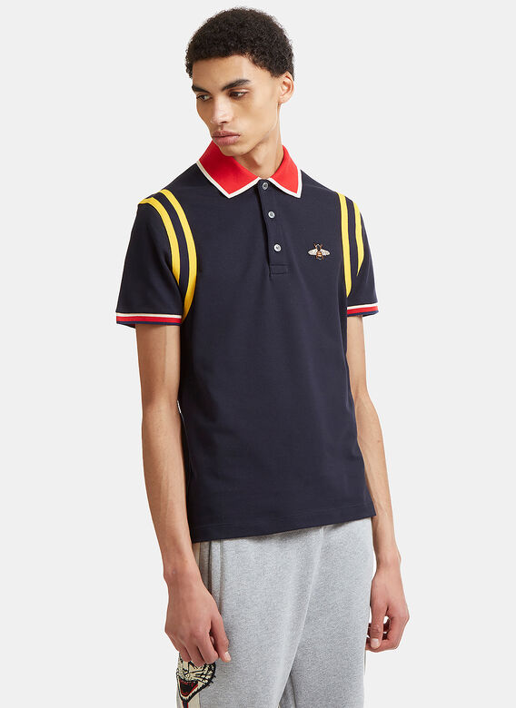 318673dc Gucci Bee Embroidered Cotton Polo Shirt in Blue | LN-CC