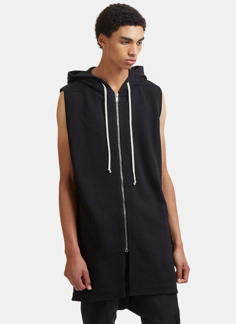 Rick Owens Drkshdw Moody Zipped Sleeveless Hooded Sweater