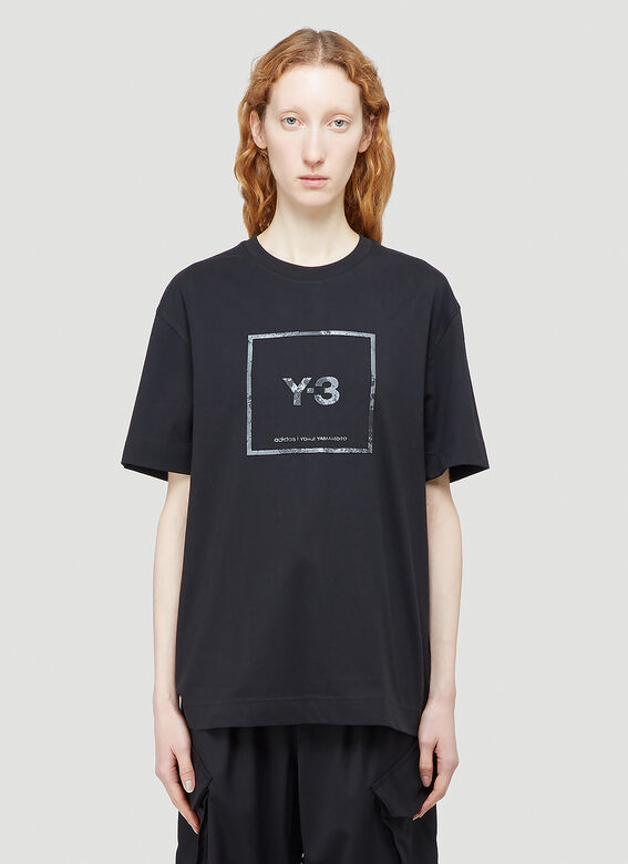 Y-3 Reflective Square Logo T-Shirt in Black