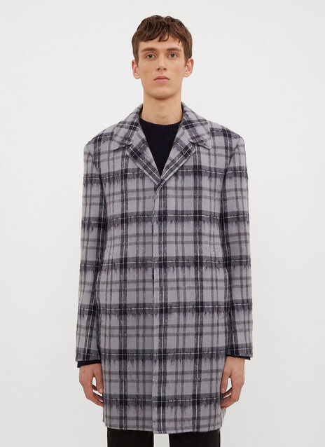 Thom Browne Tartan Hairy Mohair Coat