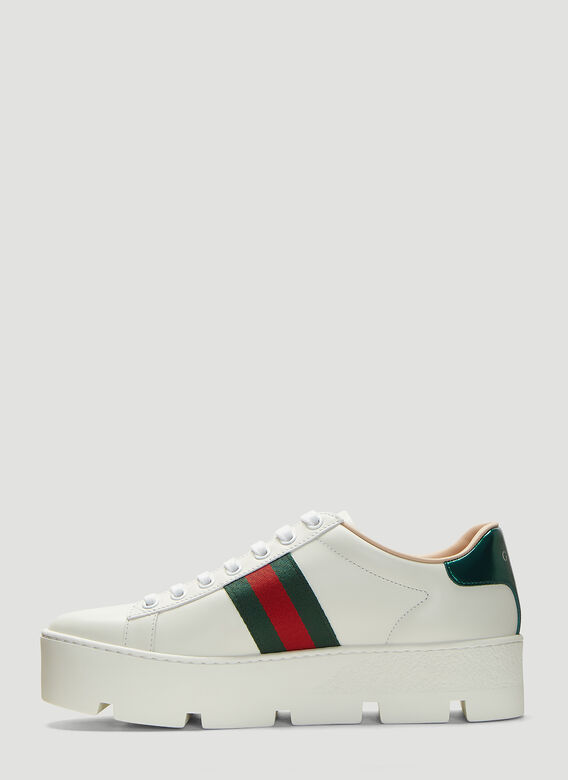 Gucci Ace Embroidered Leather Platform Sneakers 3