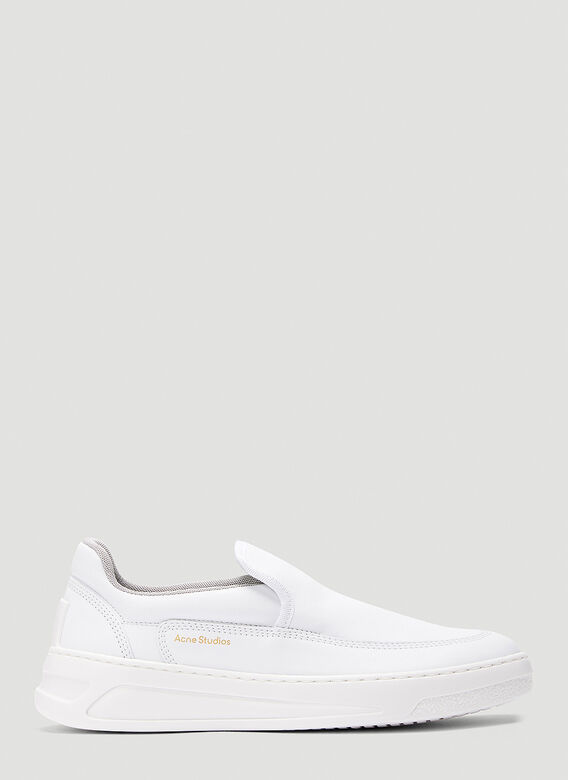 Acne Studios Leathers Face Slip-On Sneakers in White