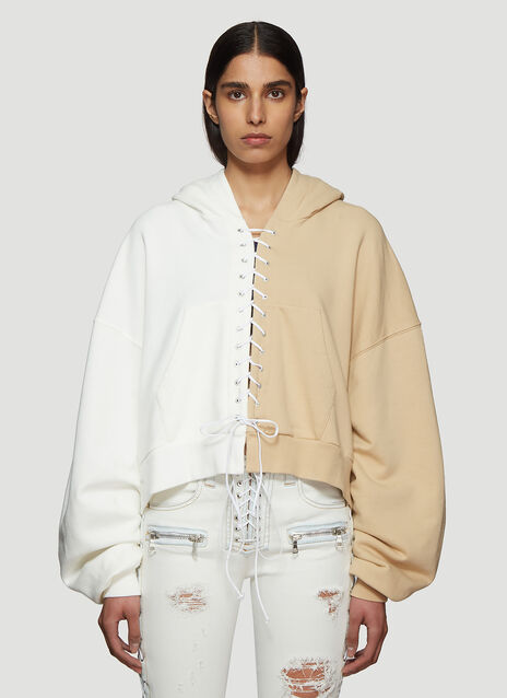 Unravel Project Terry Lace-up Hooded Sweatshirt