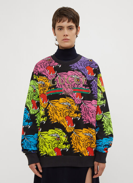 Gucci Rainbow Panther Crew Neck Sweater