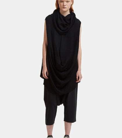 Pelican Ribbed Knit Cowl Neck Draped Top