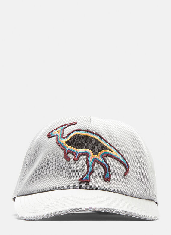 b0d8dfc115e Lanvin Embroidered Dinosaur Patch Cap in Grey