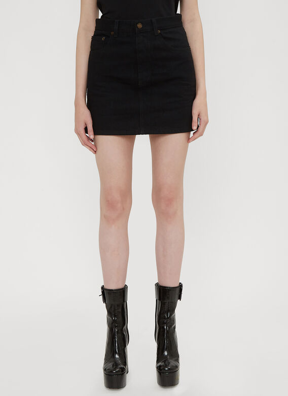 Saint Laurent Denim Stud Mini Skirt