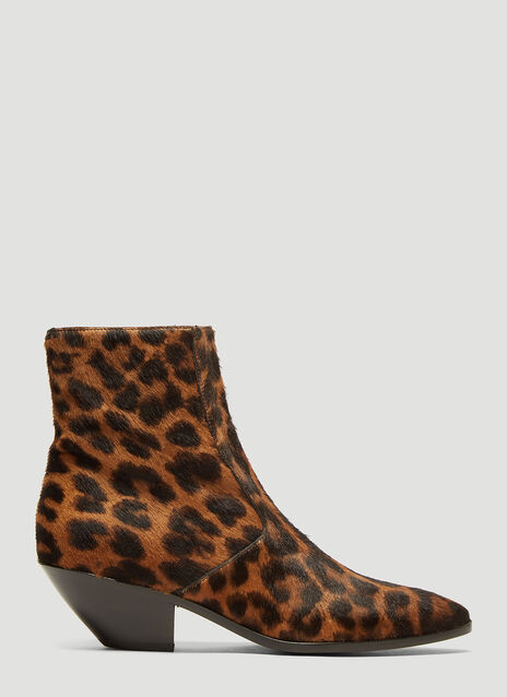 Saint Laurent West Leopard-Print Calf-Hair Boots