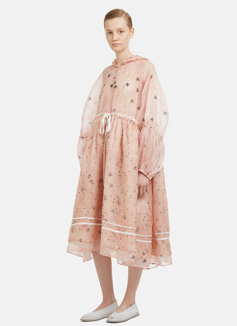 Renli Su Hooded Semi-Sheer Silk Puff Sleeve Dress