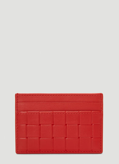 보테가 베네타 Bottega Veneta Embossed Leather Card Holder in Red