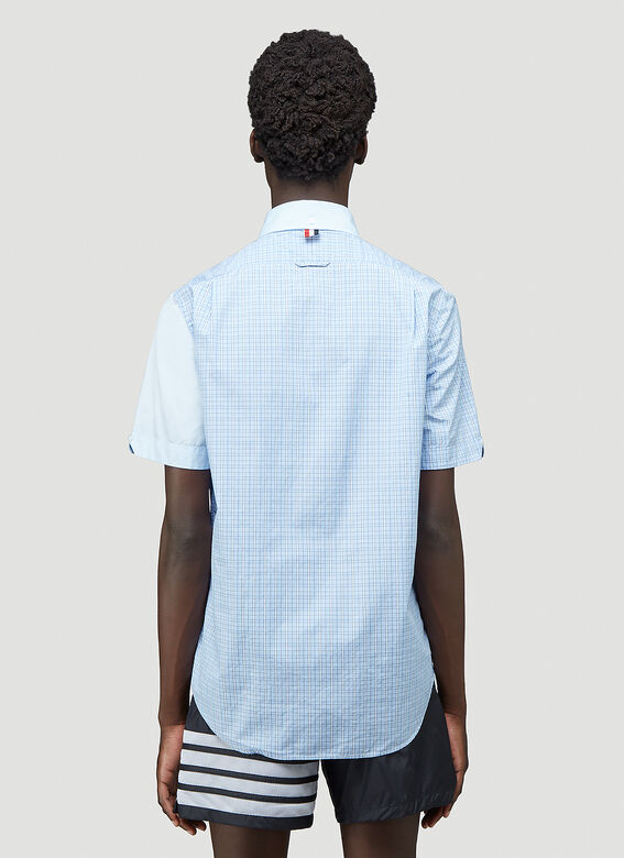 Thom Browne STRAIGHT FIT BUTTON DOWN SHORT SLEEVE SHIRT FUNMIX IN SMALL HAIRLINE CHECK POPLIN 4