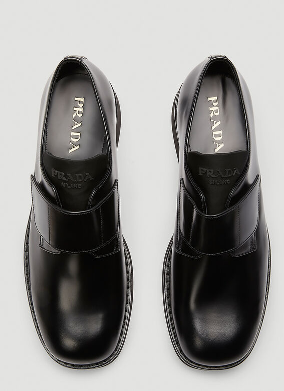 Prada Brushed leather Derby shoes with shoe strap 2