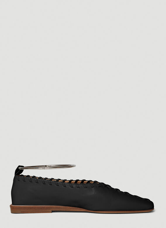 Jil Sander Topstitched Leather Flats in Black