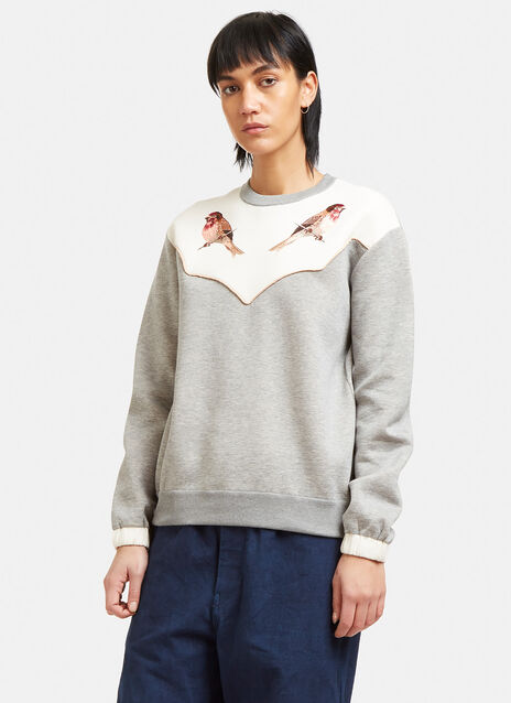 Embroidered Crew Neck Jersey Sweater