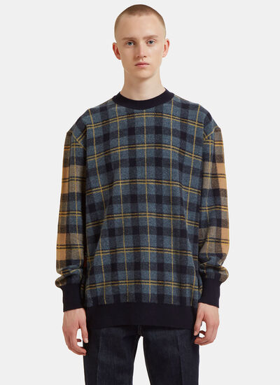 Dropped Shoulder Checked Knit Sweater