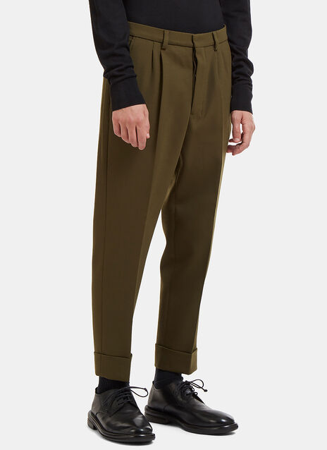 Cropped Carrot Fit Wool Pants