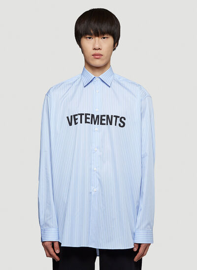 Vetements Logo Pinstriped Shirt