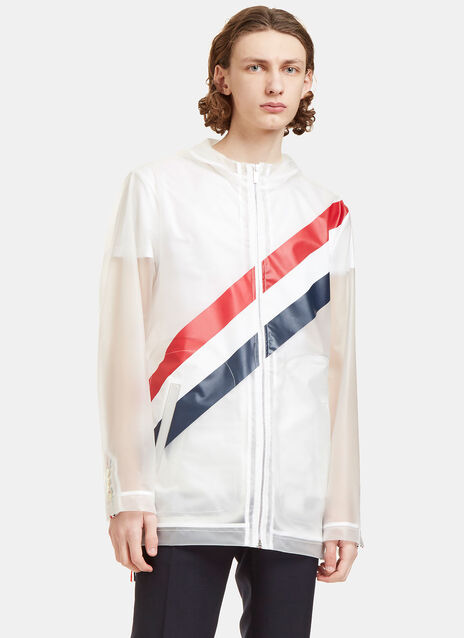 Diagonal Striped Tape Technical Packable Jacket