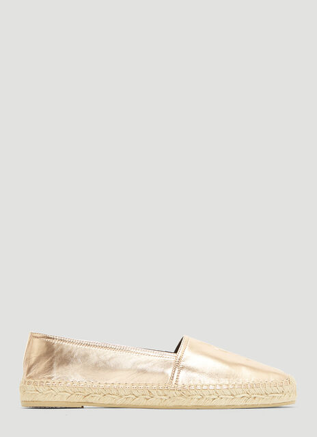 Saint Laurent Metallic Monogram Espadrille Shoes
