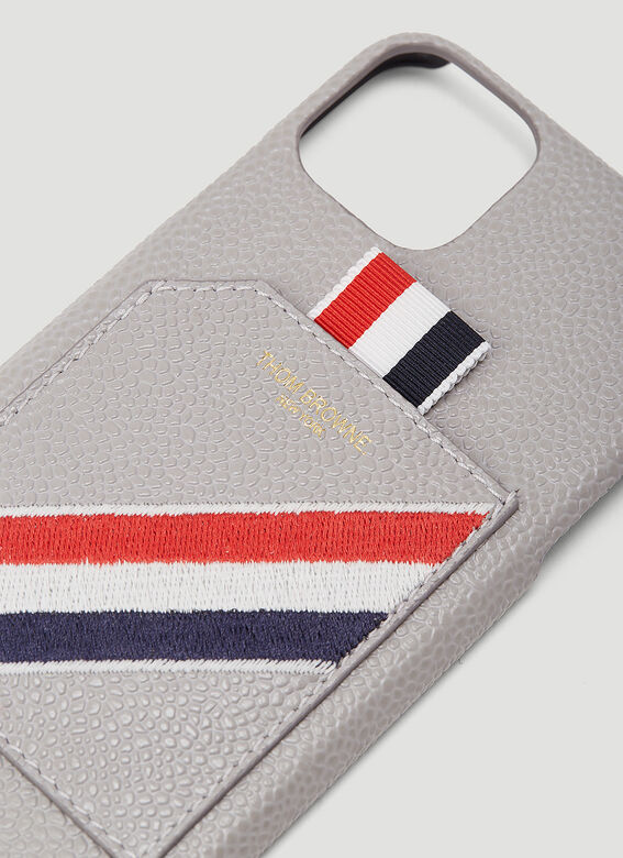 Thom Browne IPHONE 11PRO CASE W/ RWB DIAGONAL EMBROIDERY IN PEBBLE GRAIN LEATHER 3