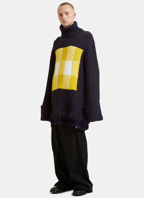 Checked Roll Neck Fringed Knit Sweater